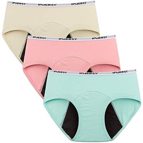 INNERSY Menstruation Unterwäsche Jugendliche Mädchen Baumwolle Periodenslip 3er Pack (L(Mädchen 14 Jahre alt), Beige/Rosa/Grün)