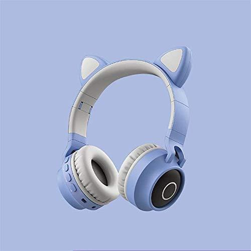 Zenly Los niños inalámbrica Bluetooth estéreo Plegable Sonido Auriculares Gato Precioso del oído llevó la luz (Color : Grey Blue)
