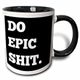 3dRose Do Epic Shit, Letters Background Mug, 11oz, Black/White
