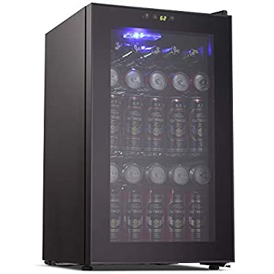 Joy Pebble Beverage Cooler and Refrigerator 85 Can Mini Fridge with Glass Door for Soda Beer or Wine Small Drink Cooler for Home Office or Bar (2.3 cu.ft)