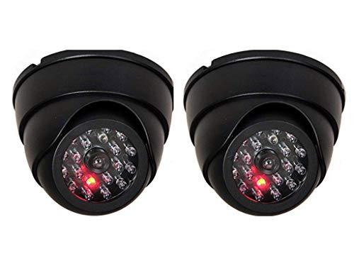 2X Domkameras Dummy mit IR Stahler Kamera Attrappe mit Objektiv und Blinkled Videoüberwachung Warensicherung