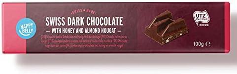 Marque Amazon - Happy Belly Chocolat noir suisse au nougat 100g x 15