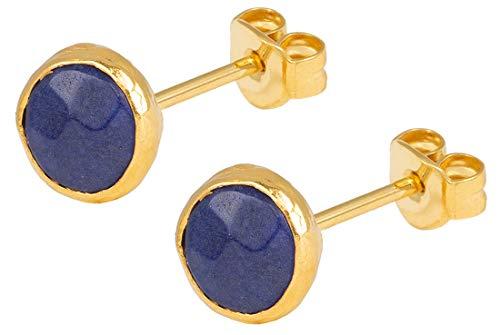 SOFORT LIEFERBAR - SARAH BOSMAN Damen Ohrringe Gold Plate Lapislazuli - Ohrstecker Runde Platte Silber vergoldet eingefasster Blauer Edelstein - SAB-E26BLULAPg