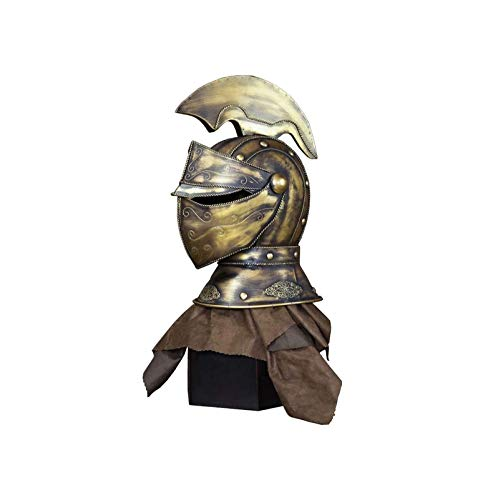 RSBCSHI Casco de Hierro Forjado, Escultura Retro Armadura de Armadura decoración de Estatua, decoración de Barra de Escritorio