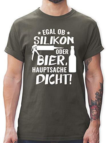 Sprüche - Egal ob Silikon oder Bier Hauptsache Dicht - XL - Dunkelgrau - Handwerker t-Shirt - L190 - Tshirt Herren und Männer T-Shirts