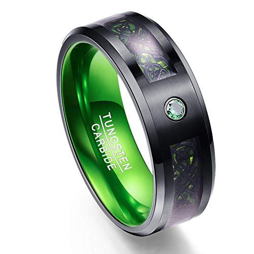 PLKN Anillos de acero de tungsteno para hombre, anillo de tungsteno negro mate acabado biselado borde pulido comodidad, anillos de boda para hombres y mujeres-E_10#
