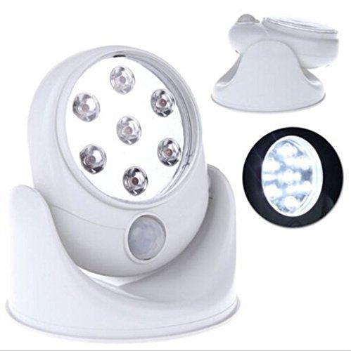 2 x LED Spot Lampe avec détecteur de mouvement pour intérieur et extérieur Projecteur Sensor Veilleuse 3T