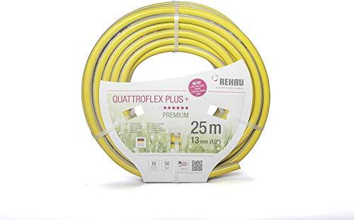 REHAU Gartenschlauch QUATTROFLEX Plus+ 1/2 Zoll 25m: ökologisch unbedenklich, extrem druckfest, gelb