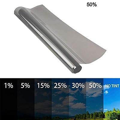 Film teinté autocollant universel 6M pour fenêtre de voiture, camionnette, protection solaire contre la chaleur, pare-soleil 50CM 50%