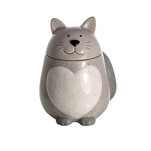 SPOTTED DOG GIFT COMPANY Keramik Vorratsdose mit Deckel ((Luftdicht), Küche Aufbewahrungsbehälter Katze und Herzform (grau) - Geschenkidee für Katzenliebhaber Katzenfreunde