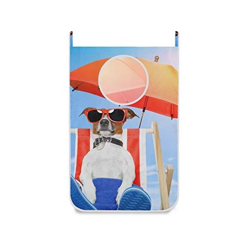 XiangHeFu Organizer Basket stoffen zak opvouwbare grote wasmand hond zonnebaden op ligstoel deur hangen
