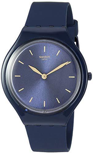 Swatch Correa de silicona de cuarzo de piel, azul, 16 reloj casual (modelo: SVON104)