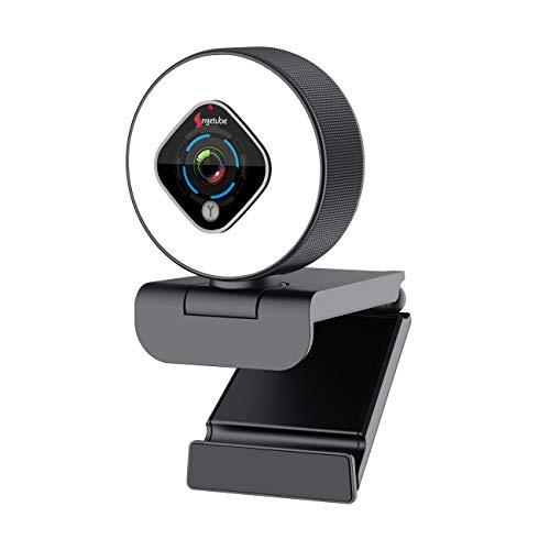 Streaming 1080P Webcam mit Ringlicht und Dual-Mikrofon, Webcam mit 5 Stufen digitalem Zoom, fortschrittlicher Autofokus, verstellbare Helligkeit, Angetube USB FHD Webkamera für Gaming Xbox Google Meet