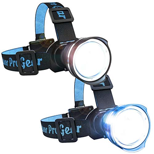 Multi Pack - 2 Color Bundle - Super Bright LED Head lamp - Zoomable Spotlight or Wide Beam Floodlight - Keep One In Your Home And One In Your Car For Emergencies -1-Black and 1-Blue Headlight Included