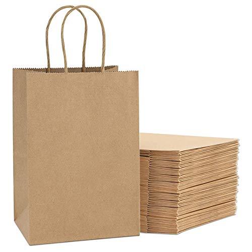 Sunshine smile papiertüten aus kraftpapier,papiertüten mit henkel,papiertüten Natur,papierbeutel braun,tüten Papier,kraftpapiertüten,papiertüten zum basteln,geschenktüten Papier Geburtstag (24 Stück)