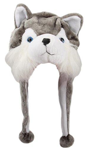 V-SOL Sombrero Gorro Disfraz Cosplay De Animal Adulto Niños Felpa Cubierta De Oreja Orejera (Lobo)