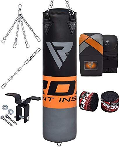 RDX Boxsack Set Gefüllt Kickboxen MMA Muay Thai Boxen mit Deckenhaken Stahlkette Training Kampfsport Handschuhe Schwer Punchingsack Gewicht 4FT 5FT Punching Bag (MEHRWEG)