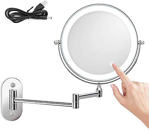L&B-MR Espejo de maquillaje LED espejo de afeitar doble cara giratorio maquillaje espejo táctil botón de luz ajustable tocador espejo maquillaje espejo afeitado en dormitorio o baño