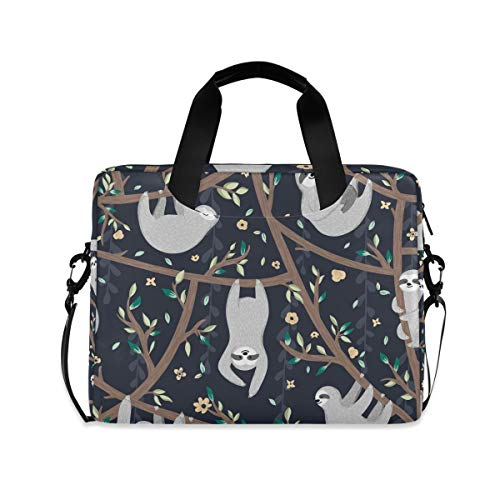 iRoad 15.6 Inch Laptop Bag Case Sloth Floral Tree Computer Case Laptop Sleeve Case with Shoulder Strap Bag for Women Men