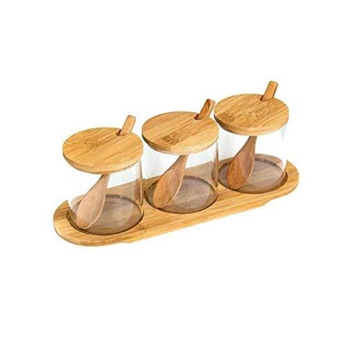 Manyao di alta qualità Vetro condimento bottiglia, Utensili da cucina condimento vasca di vetro 3-piece del vestito di legno di bambù copertura Olio Sale Cruet