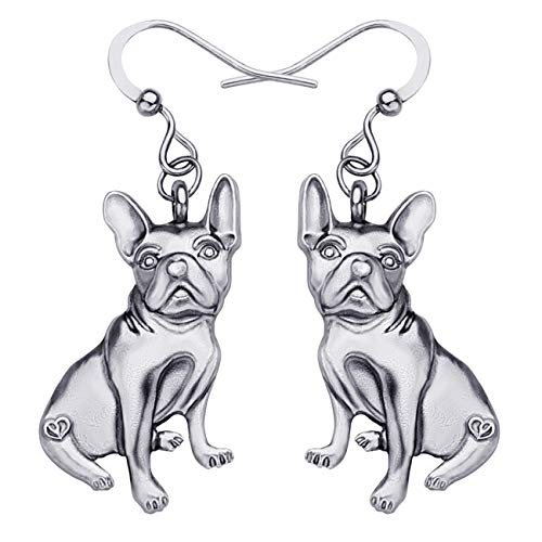 WEVENI Alloy Cute French Bulldog Earrings Gold Silver Plated Dangle Drop Pet Dog Jewelry for Girls Women Ladies Gift (Silver)