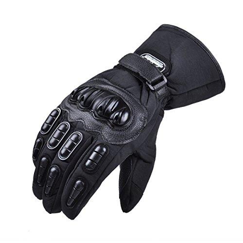 MADBIKE Gants de moto Écran tactile étanche Gants de moto hiver pour hommes (Medium, black)