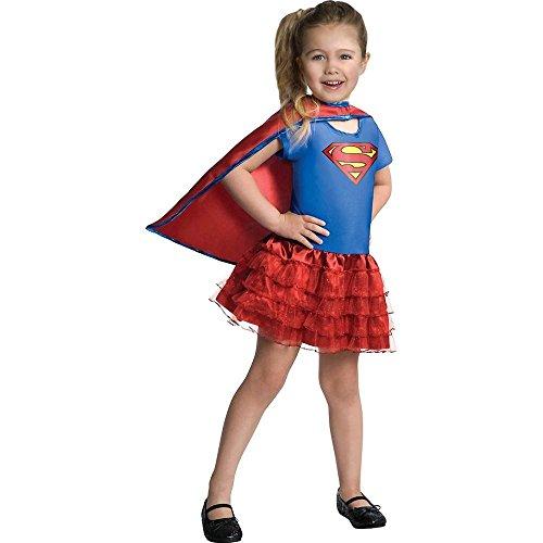 Disfraz infantil de supergirl, 1 pieza, vestido y capa, talla pequea (4-6 aos)
