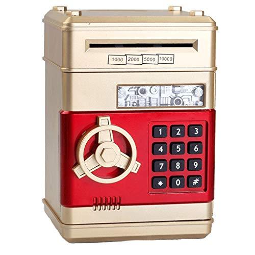 Tarro de Ahorro de Dinero Contraseña electrónica ATM Hucha automática Boy Dinero y el Regalo de cumpleaños de la Muchacha Hucha de Goma/Hucha (Color : Gold)
