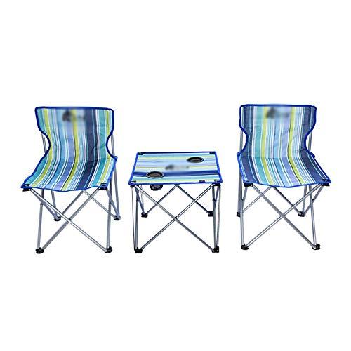 Outdoor draagbare opklapbare tafel en stoel set, campingstoel, visstoel, stalen buisframe Oxford stoffen stoel, licht en draagbaar, met rugleuning draagtas, geschikt voor camping vissen, 3 stuks
