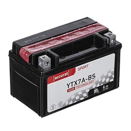 Accurat Motorradbatterie YTX7A-BS 6 Ah 100 A 12V AGM Starterbatterie in Erstausrüsterqualität rüttelfest leistungsstark wartungsfrei