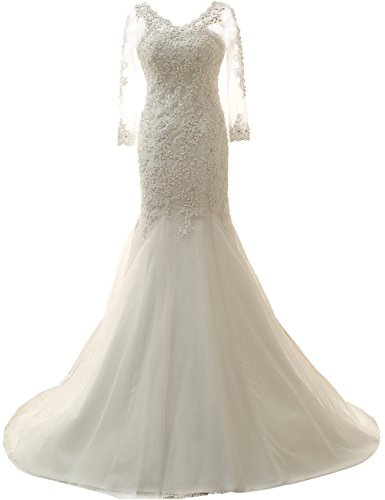 Wedding Dress with Long Sleeves Lace Bride Dresses Mermaid Wedding Gowns