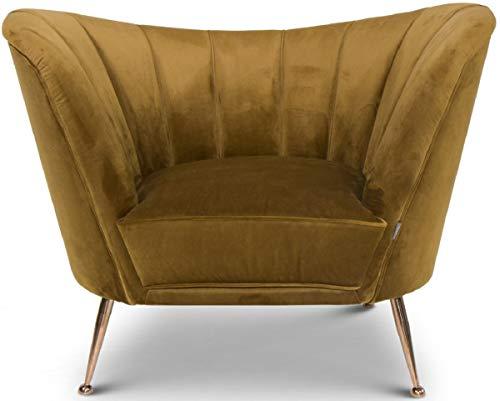 Casa Padrino sillón de Terciopelo Ocre/Cobre 77 x 78 x A. 102 cm - Sillón de Salón Art Deco - Muebles