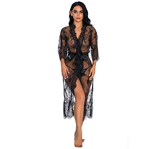 SoundJA Dessous Damen Sexy-Mittellanger Bademantel aus Spitze Dessous für Frauen Sexy Langes Spitzenkleid Transparentes Kleid