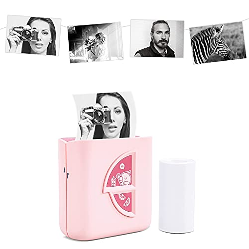 Vetbuosa Pocket Printer, Mini Bluetooth Wireless Portable Mobile Printer Thermal Printer Compatible with iOS + Android for Printing Photo, Label, Journal, Scrapbook, Fun, Gift-Pink, with 1 Print Paper