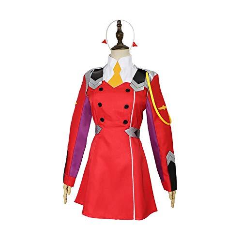ULLAA Schuluniform Cosplay Anime Darling in The FRANXX Zero Two Japan Kostüm Langärmelige Anzug Uniform,S
