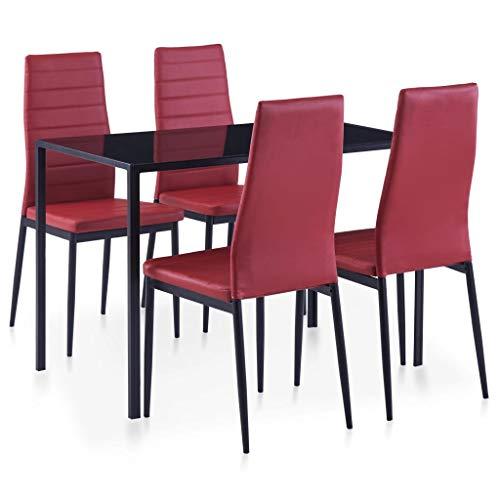 vidaXL Essgruppe 5-TLG. Esszimmertisch Esstischset Esszimmergarnitur Küchentisch Esszimmer Stuhl Tisch Set Sitzgruppe Esstisch mit 4 Stühlen Weinrot