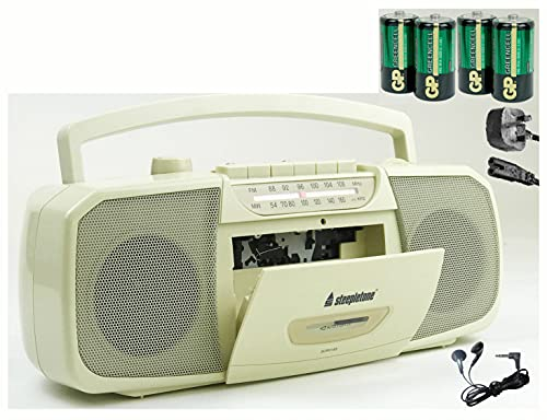 Steepletone STEREO Cassette Tape Recorder (inc BATTERIES + Mains Electric...