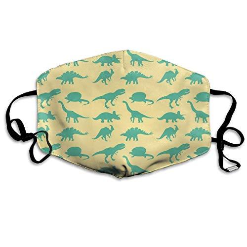 QYGA-3BU Mundhauben für Sturmhauben Grüne Dunstabzugshauben mit Dinosaurier-Print Sturmhauben - Atmungsaktiv Einstellbar Winddicht Mundhauben, Camping Running
