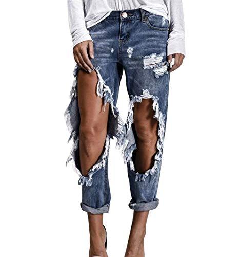 HaiDean Dames Distressed Broeken Boyfriend Jeans Denim Jongens met chic gaten jeanbroek denim broek Outdoor vrijetijdsbroek broek