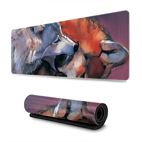 Painted Wolves Design Pattern XXL XL Large Gaming Mouse Pad Mat Long Extended Mousepad Desk Pad Non-Slip Rubber Mice Pads Stitched Edges (31.5x11.8x0.12 Inch)
