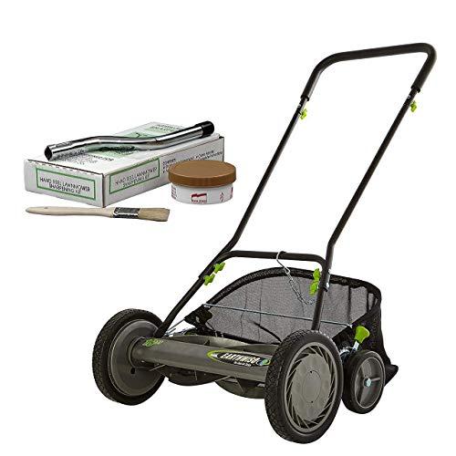 "Earthwise 1819-18EW 18"" 5-Blade Reel Lawn Mower W/Grass Catcher + Sharpening kit, Inch, Grey (Renewed)"