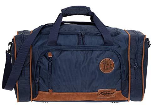 Reisetasche Herren Damen Elephant Travel 55 cm groß Handgepäck Sporttasche 5071 + Koffergurt (Blue (Dunkelblau))