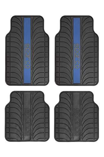 Sparco Juego de Alfombra Goma Color Franja Logo SPARCO Universal, Negro/Azul