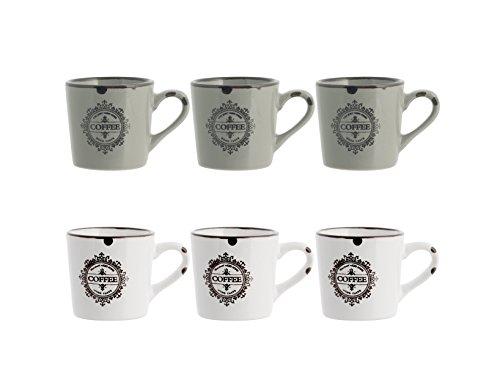H&H Vintage Juego de Tazas de café, Cerámica/Stoneware, Bianco/Tortora, 6