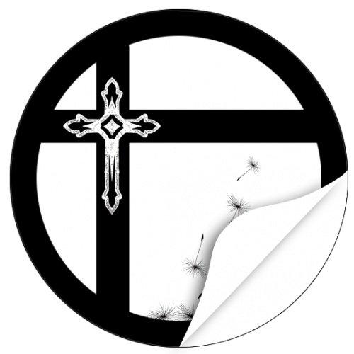 20 x Etiketten Trauer, rund/Kreuz im Kreuz/Beerdigung/Beileid/Tod/Bestattung/Bestatter/Bestattungsunternehmen/Aufkleber für Umschläge