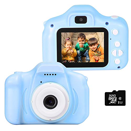 le-idea Fotocamera per Bambini, Bambini Fotocamera Digitale Portatile Selfie Videocamera 1080P HD / Doppia Fotocamera da 12 MP / IPS Screen da 2 Pollici / Scheda TF 32G Inclusa (Blu)