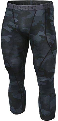TSLA Men's 3/4 Compression Pants, Running Workout Tights, Cool Dry Capri Athletic Leggings, Yoga Gym Base Layer, Athletic(muc18) - Camo Black, Medium