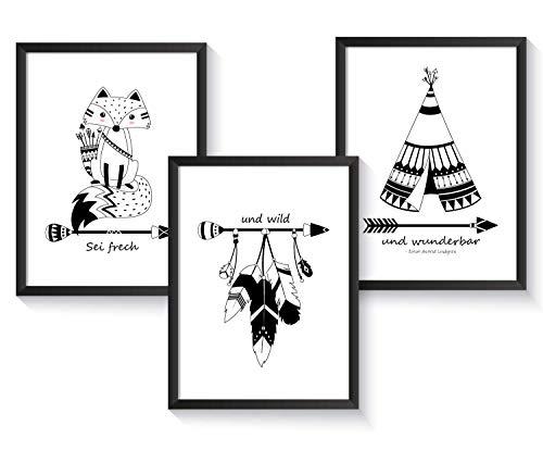 3er Set Kinderbilder Kinderzimmer, Indianer Tierbilder Schwarz Weiß, Kunstdruck Poster Schwarz-Weiß | A4 | Kinderposter