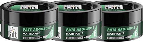 Schwarzkopf Taft - Pâte Argileuse Cheveux Matifiante - 75 ml - Lot de 3