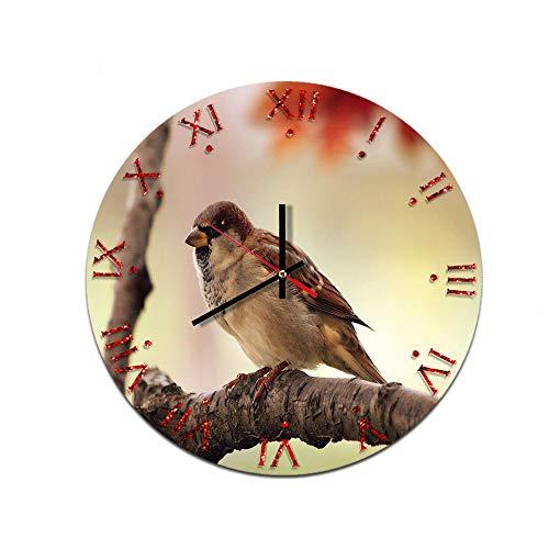 LUOYLYM Zweig Vogel Kreative Heimat Wanduhr Acryl Wanddekoration Uhr Stumm Bewegung Spiegel Uhr F514-114 28CM